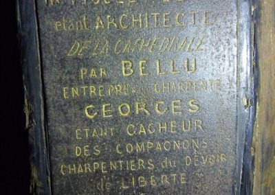 A stone marking the original mastercraftsmen who constructed part of the cathedral